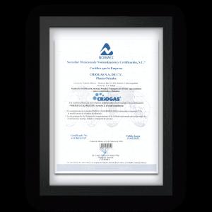 certificado NORMEX NMX-H-156-NORMEX-2010